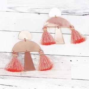 Jewelry - ROSE GOLDTONE AND PEACH HALF MOON TASSEL EARRINGS